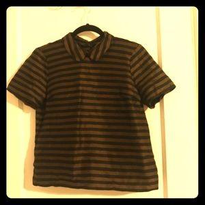 Madewell Snap Bttn Peter Pan Collar Stripe Blouse